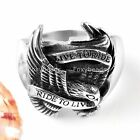 Punk Mens 316L Stainless Steel Motor Biker Eagle Hawk Live To Ride Finger Ring