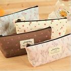 Cute pastoral style Soft Canvas Floral Pencil Pen Case Cosmetic Makeup Bag Pouch