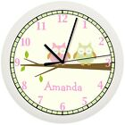 OWL NURSERY WALL CLOCK PINK GREEN TREE BEDDING THEME GIRLS BEDROOM PERSONALIZED