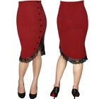Red Ruffle Pin Up Skirt Girl Ruffled Pencil Wiggle Rockabilly Skirt Vintage
