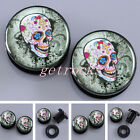 Pair Vintage Skull Acrylic Flesh Screw Ear Tunnels Plugs Expander Stretcher Punk