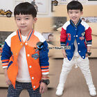 2018 Spring Child Kids Baby Boy Letter A/G Baseball Hooded Coat Jackets 2-7Y