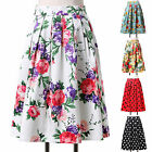 Housewife 50s Vintage Floral/Polka Dots Pleated Midi Skirt Ball Gown Swing Skirt