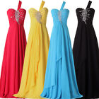 US BIG SALE! One Shoulder Sequins Long Prom Chiffon Bridesmaid Evening NEW Dress
