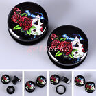 Pair Rose Lady Sugar Skull Acrylic UV Ear Plugs Tunnels Expander Stretcher Punk