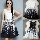 Women Lace Splicing Crochet Leaf Print A-line Tank Cocktail Dress Black & White
