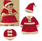 80-100cm Child Baby Girl Christmas Dress Xmas Hat Party Clothes Set 2-4T