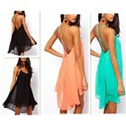 Sexy Women Backless Sling Strap Back Chiffon Clubwear Cocktail Party Mini Dress