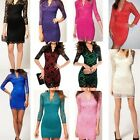 Sexy Clubwear Women Lace Scalloped Neck 3/4 Sleeve Cocktail Bodycon Mini Dress