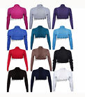 New Women Longsleeve Knitted Plain Ribbed Bolero Cropped Shrug Cardigan Top 8-14