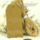 Pack of Retro Gift Tags Plain Blank Kraft Brown White Scallop Label with+Strings