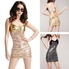Sexy PU Leather+Shine Sequin Dress Costume DS Women Clothing Size M/XL+T-back