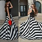 New Women's Stripe Long Cocktail Evening Party Skirt Summer Maxi Dress AU 8-12