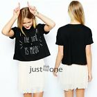 Fashion Women Cute Lovely Cat Letters Loose Short Style Round Neck T-shirt Black