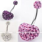 14G Steel Czech Crystal Heart Navel Belly Button Ring Curved Bar Piercing Punk