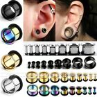 Pair Stainless Steel O-ring Tunnels Hollow Ear Expander Stretcher Plug Punk HOT