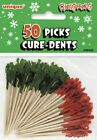 PACKS 50 CHRISTMAS PARTY RED AND GREEN SANDWICH CAKE PICKS COCKTAIL STICKS