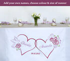 Personalised Wedding Anniversary Table Runner Cloth - Embroidered Roses & Dove