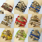 New Infinity Anchors Love Charm Leather Bracelet Lots Colors DIY Jewelry U Pick