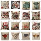 Luxury Owl Linen Cotton Throw Pillow Case Cushion Cover Home Decor Many Styles