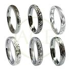 NEW 9ct 375 UK HM 3mm White Gold Hand Engraved Court Comfort Wedding Bands Rings