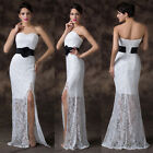 Sexy Long Lace Design Strapless Formal Bridesmaid Wedding Homecoming NEW Dresses