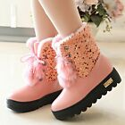 Womens Glitter Round Toe Platform Lace Up Fur Trim Winter Warm Snow Ankle Boots