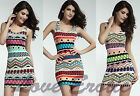 Womens Aztec Dress Bodycon Stretch Fashion Ethnic Print 10-14 UK Free Delivery