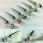2pc Fashion Crystal Stainless Steel Ear Stud Earring Spike Mens Punk Cool Gothic