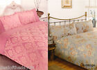 Jacquard Double Duvet Set Or King Size Cover Damask Pink Duck Egg + Pillow Cases