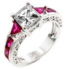 Princess Cubic Zirconia Trillion Red CZ Accent Rhodium EP Brass Women's Ring