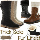 D7Y WOMENS LADIES FUR LINED WINTER QUILTED FLAT KNEE HIGH SNOW BOOTS SHOES SIZE