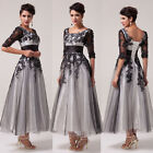 Vintage Retro Half Sleeve Lace Bridesmaid Evening Party Formal Long Gown Dresses