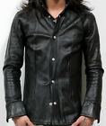 Mens Black Leather Full Sleeve Shirt Brand New LLL-JD01 SMALL TO 4XL