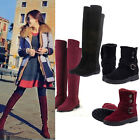 Sexy Women Over Knee Faux Suede Stretch Thigh High Slouchy Flat Heel Boots Shoes