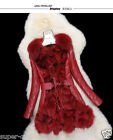 100%Real Sheep Lamb Leather Fox Fur Collar Down Jacket Coat Fashion Warm Gift