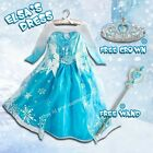 Elsa Girls Dresses Frozen Costume Cosplay Princess Dress New + Free Crown&Wand
