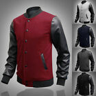 NEW ARRIVAL Men's Slim Fit Varsity Letterman Leather Sleeve Jacket Coat S M L XL