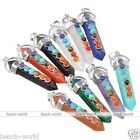 1pc Hexagon Reiki Pendulum Chakra Healing Point 7 Gemstone Beads Pendant Gift