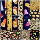 FOOD~SNACKS~DRINKS FABRIC~7 DESIGNS~BY 1/2 YD~SANDWICHES~POPCORN~NUTS~MORE~OOP