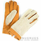 Men's Leather Driving Gloves with Crochet Back