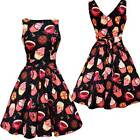 Lady V London Vintage Black Tea Cups & Cupcakes Tea Dress Rockabilly Pinup 50's