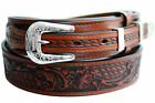 """Tan Ranger Leather Belt Hand Tooled Removeable 3/4"""" Buckle Set by BWP"""
