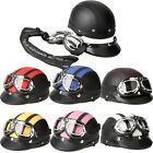 Motorcycle Bike Rider Open Face Leather Helmet Visor Goggles Scarf Retro Vintage