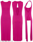 Womens Pink CutOut Maxi Dress Ladies Casual Long Stretch Keyhole Back Sleeveless