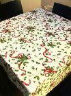 WHITE RED GREEN LINEN LOOK TABLE CLOTH CHRISTMAS / PARTY TABLE WARE HOLLY LEAVES