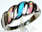 Multicolor Pink White Blue Fire Opal Inlay 925 Sterling Silver Ring Size 6.5 - 8
