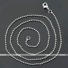 1pc White Gold Silvery Ball Link Chain 1.5mm Necklace 17.5-24''