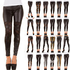 LUXUS NEU DESIGNER DAMEN n18t SEXY SPITZE LEDER OPTIK WET LOOK LEGGINGS