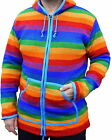 FAIR TRADE RAINBOW WOOL FLEECE LINED JACKET JUMPER M L XL XXL 12 14 16 18